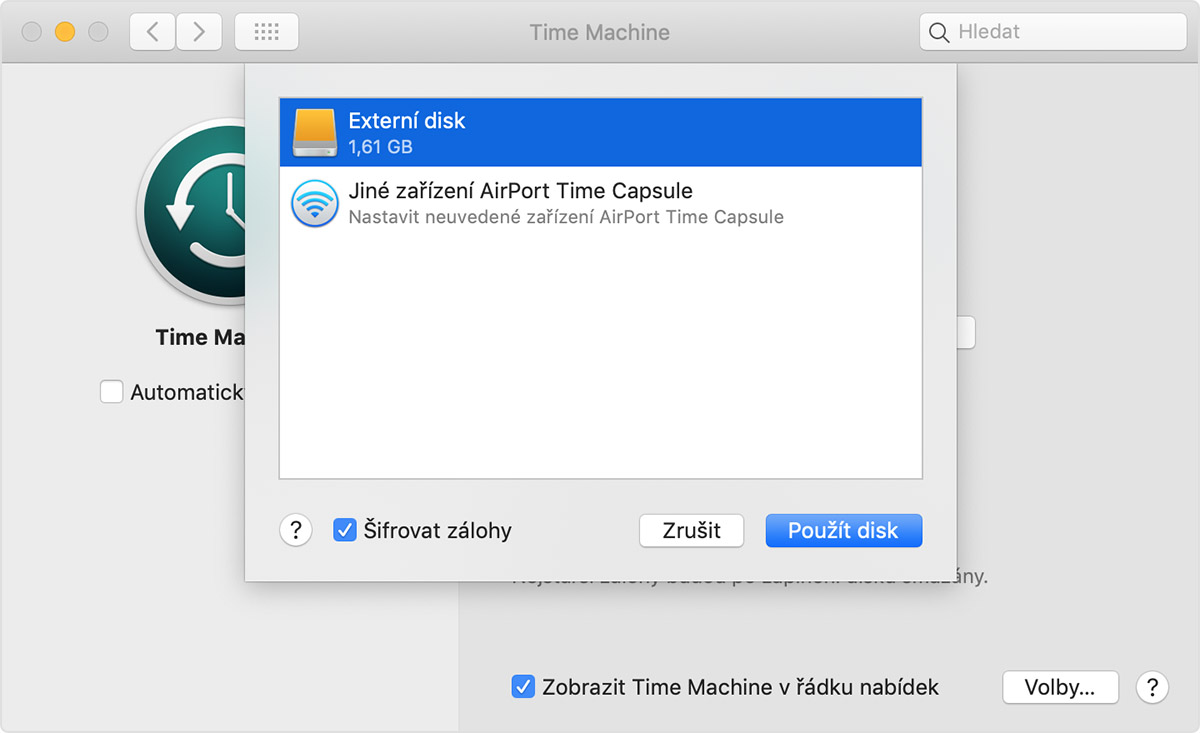 mac time machine návod