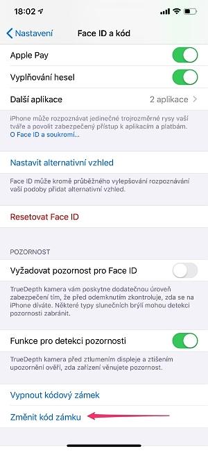 Zapomenutý kód iPhone nastavení