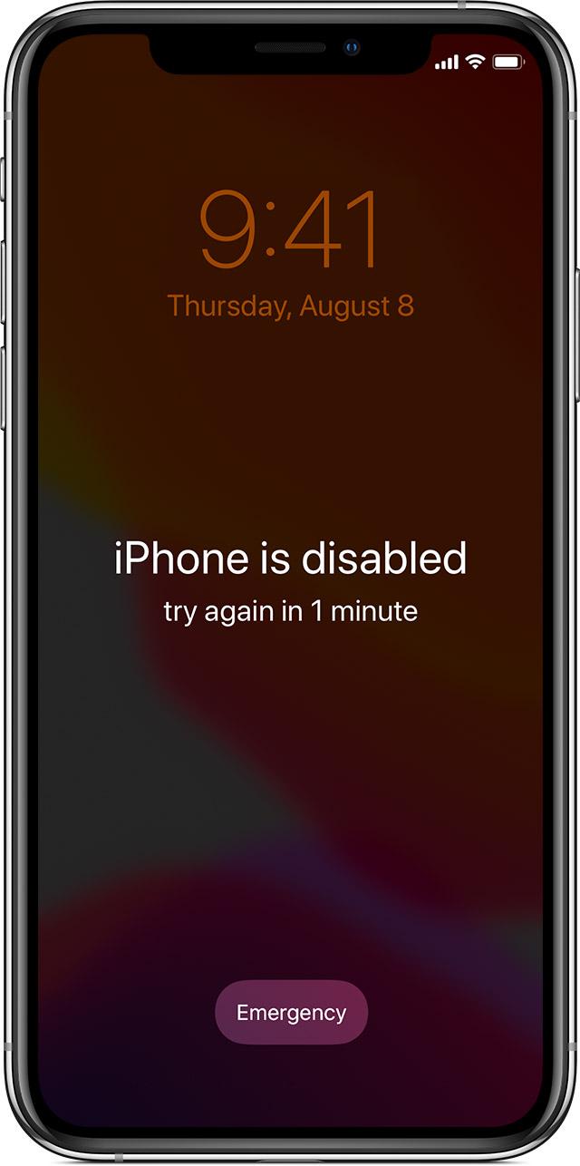 iPhone is disable - zapomenutý kód