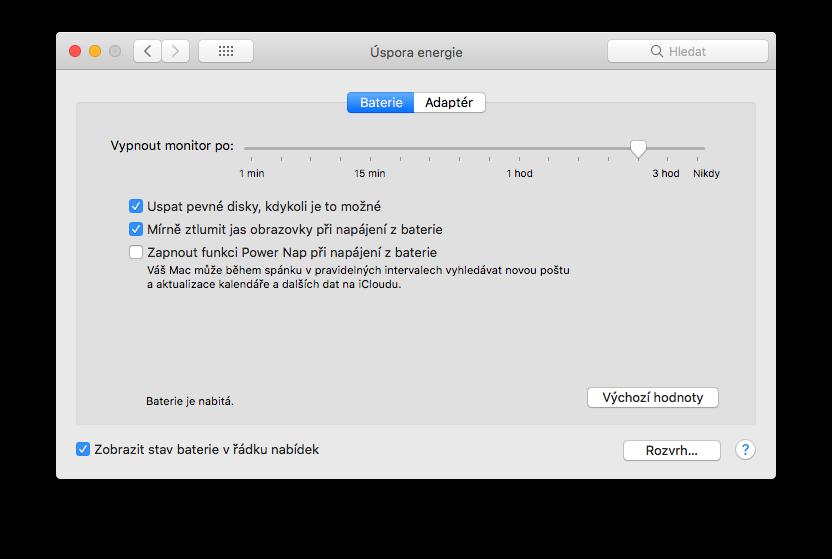 Šetření MacBook baterie